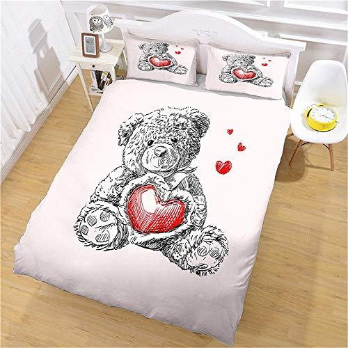 PERFECTPOT Single Duvet Cover Set Love Bear Printed Bedding Duvet Cover Set in Polyester, Quilt Bedding Sets 3pcs, 1 Duvet Cover 140x200 with 2 Pillowcases