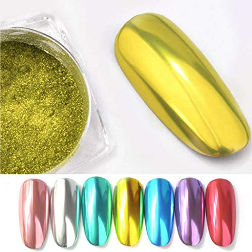 iHENGH French Manucure, Gold Flow Mirror Poudre Effet Chrome Nail Polish Film Nails Art Glitter Argent Ongle