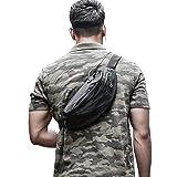 Large Black Waist Bag Fanny Pack for Men Waterproof Women Belt Bag Pouch Hip Bum Bag Chest Sling Bag with Headphone Jack, Premium Lightweight Fanny Pack for Sport Gym Workout Travel Work Commuting