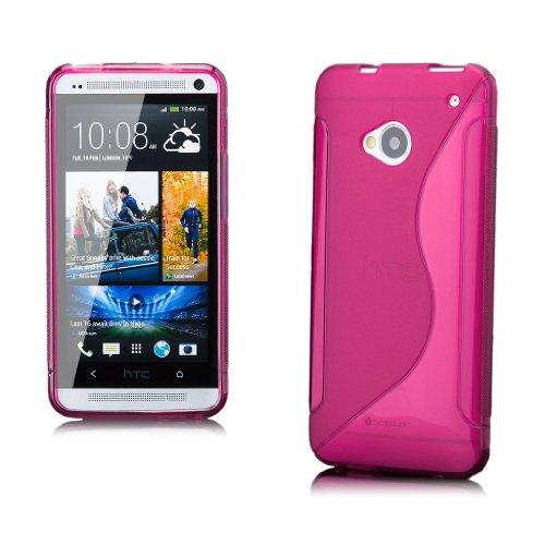iCues HTC One M7 |  S-Line TPU Case Pink | [Display Schutzfolie Inklusive] Transparent Klarsichthülle Durchsichtig Klare Klarsicht Silikon Gel Schutzhülle Hülle Cover Schutz