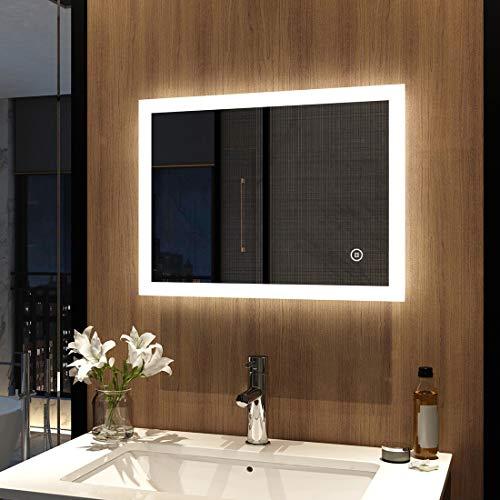 Meykoers Espejo de pared para cuarto de baño, 45 x 60 cm, con interruptor táctil, LED de baño con iluminación, blanco frío, 6400 K, IP44