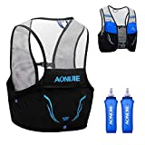 TRIWONDER Mochila de Hidratación Ligero 2,5L Superior Chaleco para Trail Running Ciclismo Marathoner Profesional Hombre Mujer (Azul y Negro - 2×500ml Botella de Agua, M/L (90-102 cm))