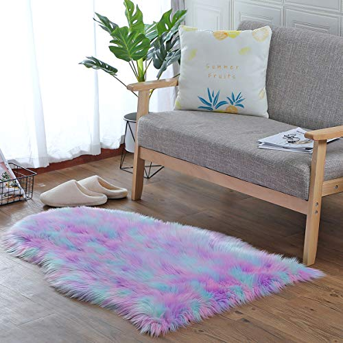 loudbay Soft Faux Fur Rugs Fluffy Carpet Plush Chair Seat Cushion Plush Carpet Suitable for Bedroom Floor Sofa Living Room (75 x 120 cm, Tricolor Green-Pink-Purple)