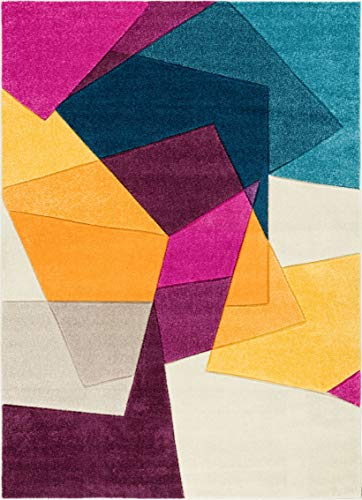 Well Woven Strata Squares Multi Blue Purple Fuchsia Yellow Orange Modern Geometric Hand Carved 4x6 (3'11'' x 5'3'') Area Rug Easy to Clean Stain Fade Resistant Thick Soft Plush