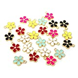 Honbay 24PCS Enamel Flower Charms Pendant for Jewelry Making or DIY Crafts