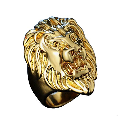 aliveGOT Men's Vintage 316L Stainless Steel Gold Lion Head Rings Heavy Metal Rock Punk Style Gothic Biker Ring
