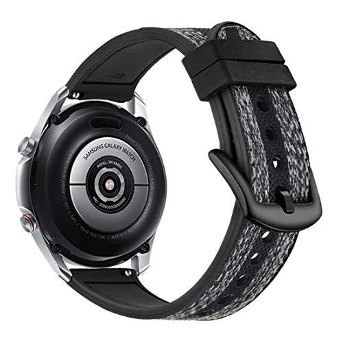 Yooside 22 mm pulsera para Samsung Galaxy Watch3 45 mm, tejido de nailon híbrido de silicona reloj de pulsera para Samsung Galaxy Watch 46 mm/Gear S3 (color negro)
