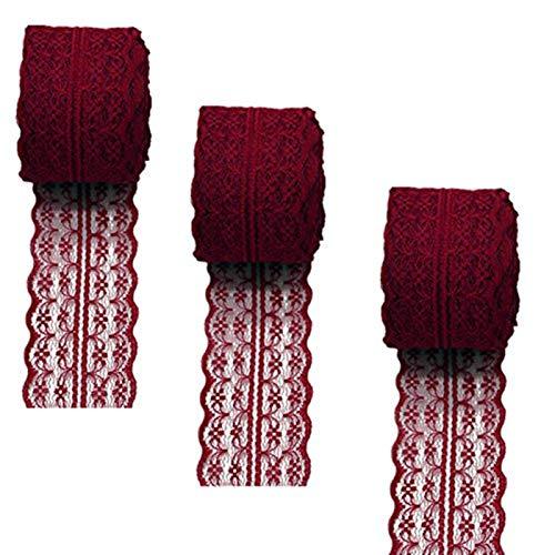 Spitzenband, 3 Rollen, 10 Meter, Blumenmuster, für DIY-Schmuck, Basteln, Hochzeit, Zubehör, Geschenkverpackung, burgunderfarben, 45mm x10m