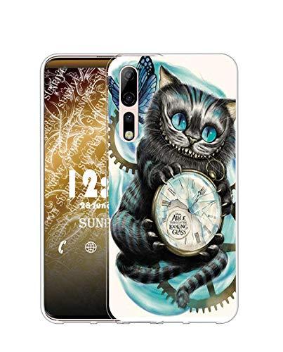 Sunrive Kompatibel mit ZTE Axon 10 Pro 5G Hülle Silikon, Transparent Handyhülle Schutzhülle Etui Hülle (Q Katze 2)+Gratis Universal Eingabestift MEHRWEG