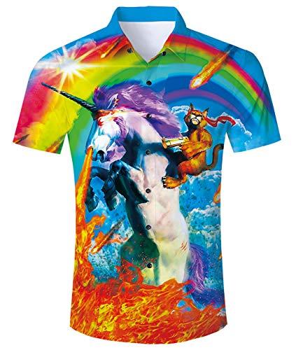 Goodstoworld Mens Unicorn Shirts 3D Rainbow Cat Printed Summer Hawaii Holiday Retro Youth Flame Top Short Sleeve Dress Party Animal Shirt Blouses XXL