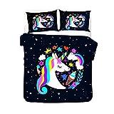 AMCYT Juego de ropa de cama con diseño de unicornio y guirnaldas de galaxia, suave y cómodo microfibra, con cremallera y funda de almohada, antibacteriano, contra arrugas, 5, 200*200