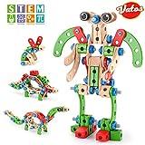 VATOS Gebäude Spielzeug für Kinder, STEM Bausteine BAU Holzgebäude Spielzeug 96 PCS, Pädagogisches Gebäude Spielzeug für Jungen und Mädchen von 3 4 5 6 7 8 9 10 Jahre Alt Hobby Geschenk für Kind
