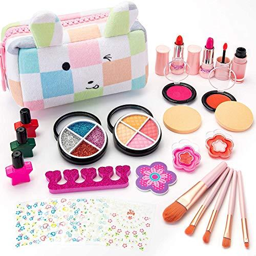 Sundaymot Juego de maquillaje infantil para niñas, 27 piezas, lavable, para niños, maletín de maquillaje, juego de roles, juego de cosmética, juguete para regalo