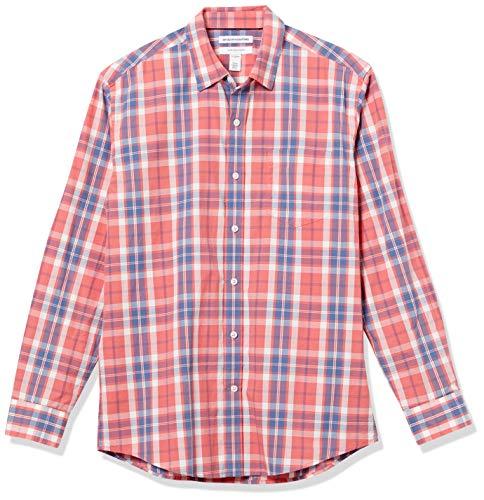 Amazon Essentials Long-Sleeve Regular-Fit Casual Poplin Shirt Button-Down-Shirts, Finestra Rossa Lavata, L