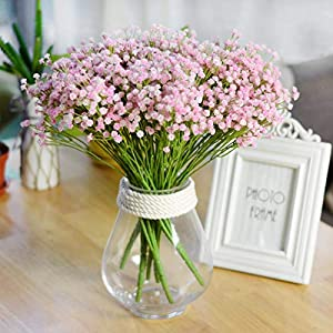 Silk Flower Arrangements Baby Breath Artificial Flower Gypsophila Bouquet Real Touch Fake Silk Greenery Stems Twigs Sprigs Branches Lifelike Green Plant Floral Arrangement Wedding Office Home Decor Table Centerpieces 3 Pack