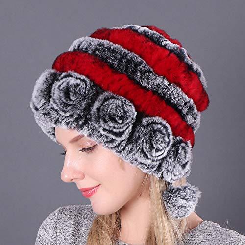 Xme Orejeras Acolchadas cálidas, Sombrero de Piel de Conejo Rex, Gorra Redonda de otoño e Invierno