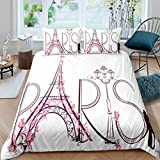 Feelyou Paris City Decor Bettbezug Set King for Girls Tower Eiffel with Paris Lettering Illustration Couple Trip Flowers Artful Tröster Cover Decorative Bedding Set with 2 Pillow Shams Pink