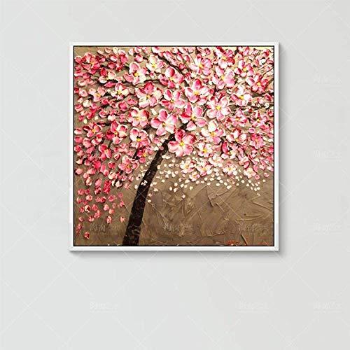 Olieverfschilderij, handbeschilderd, op canvas, Botanische bloemen, zakmes, rozenmes met dikke boom, Pop Art Moderne grote grootte, handbeschilderd, met foto-ingangfoto 120×120 cm/48×48 inch
