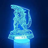 Godzilla War Beast 3D Illusion Lamp 16 Colour Changing Acrylic LED Night Light with,Art Sculpture Lights Room Home Decoration,USB Charger, Pretty Cool Toys Gifts Ideas Birthday Holiday Xmas for Baby