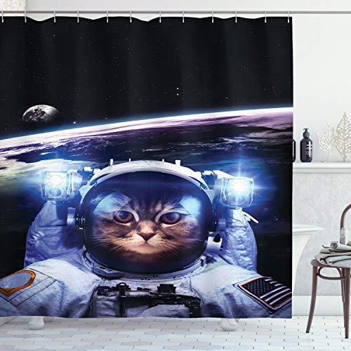 ABAKUHAUS Katze Duschvorhang, Lustige Astronaut Katzen-Stimmung, Trendiger Druck Stoff mit 12 Ringen Farbfest Bakterie & Wasser Abweichent, 175 x 200 cm, Blau Weiß