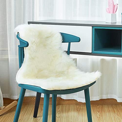 EUGAD 0055YMDZ Lammfell Schaffell Teppich echtes Naturfell Wohnzimmer Bettvorleger Sofa Matte Weiß 65 x 45 cm