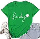 MOUSYA Women St. Patricks Day Feelin Willie Lucky Shirt Funny Letters Printed Clover T Shirt Graphic Tees
