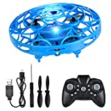 FlyNova Mini Drone, Hand Drone Flying Toys Drones for kids, USB Charging RGB Lights Interactive Toys Gifts for Boys Girls Adults ( Blue with remote control)