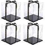 4Pcs Clear Cake Box Carrier Packaging 10' X 10' X 9'- Tall Layer Cake Carrier with Ribbon- 2 Tier Transparent Boxes with Lid,Clear Gift Boxes with Lid for Wedding Party and Gift Display - Black