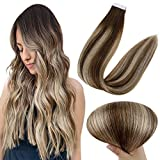 Full Shine Tape In Hair Extensions Real Real Human Hair 14 Inch Balayage Dark Brown Root 4 Fading To 24 And Highlighted 4 Medium Brown 20 Pieces 50 Gram PU Tape Hair Extensions
