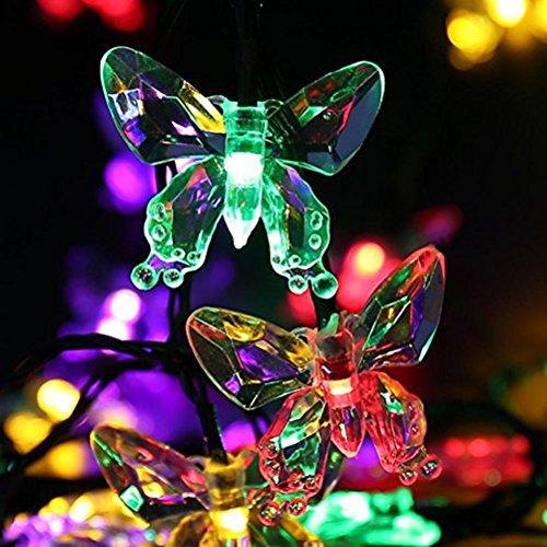 Ledmomo Lichterkette, solarbetrieben, Outdoor, wasserdicht, 20 Schmetterling-LEDs, Dekoration, 4,5 m, mehrfarbig