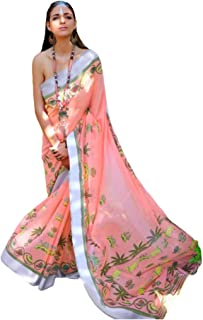 Pinkkart Linen Cotton Digital Print Saree Wedding Party Festive Indian Women Sari Designer Blouse 51