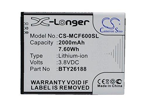 Cameron Sino 2000mAh / 7.60Wh Li-ion High-Capacity Replacement Batteries for Mobistel Cynus F6, POSH Titan HD , fits Mobistel BTY26188, POSH B01-E500