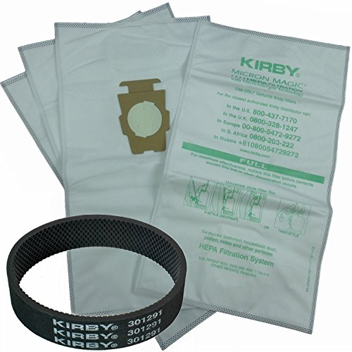Avalir Kirby Microfiber Allergen Reduction Bags 204811 (6Pk) C/W Free Belt, White