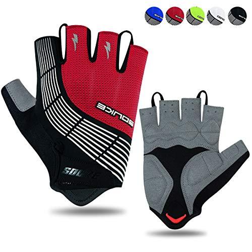 Souke Sports Cycling Gloves Half Finger Bicycle Gloves Moutain Bike Gloves For Men Women Padded Anti-Slip MTB Fingerless Road Riding Gloves,RED L