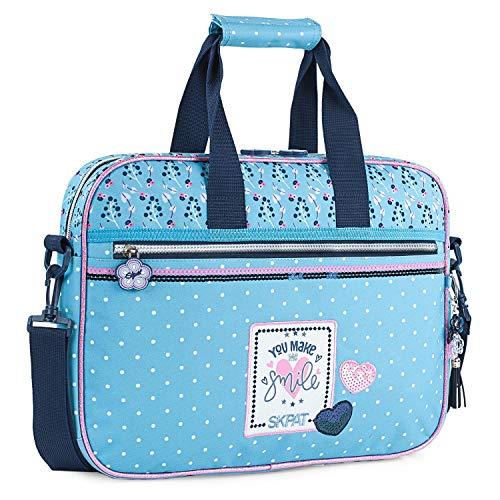SKPAT - Cartera Infantil niña Estampada. maletín extraescolar. Capacidad para blocs libretas Libros y portátil. tamaño a4. cómodo y Calidad y diseño 131406, Color Azul