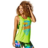 Zumba Dance Atlético Estampado Fitness Camiseta Mujer Sueltas de Entrenamiento Top Deportivo, Get in Lime, Medium
