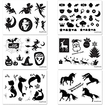 Fairy Mermaid Unicorn Halloween Christmas Omnibus Kiss Cut Stickers - No Adhesive Reusable Clings - Fairy Silhouette for Jars 16oz  - Glass Decals for Arts & Crafts Project - 70 Pieces of 6 Theme  Black