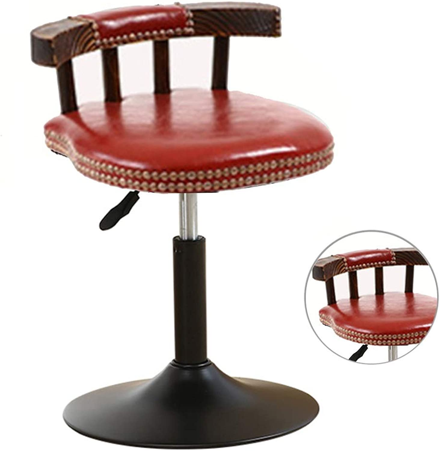 Round Square PU Leather Adjustable Bar Stools with Back Counter Height 360 Degree Swivel Stool PVC Leather Chairs Padded Seat with Footrest & Back Bar Pub Dining Room Kitchen Home Furniture 15.7 -20.8