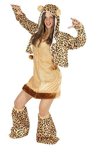 Foxxeo Leoparden Kostüm für Damen Tierkostüme sexy Kleid für Karneval und Fasching Erwachsene Größe XL