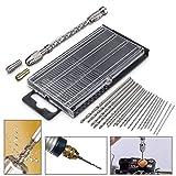 YISUNF Drill para el Corte Taladro 21pc 0.3-1.6mm HSS Brocas Giro Mini Micro con Mano de Aluminio Accesorios Taladro