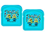 Despicable Me Minions Sandwich Container (2 Pack) Bread Shaped Keeper, Happily Blended Family, BPA Free