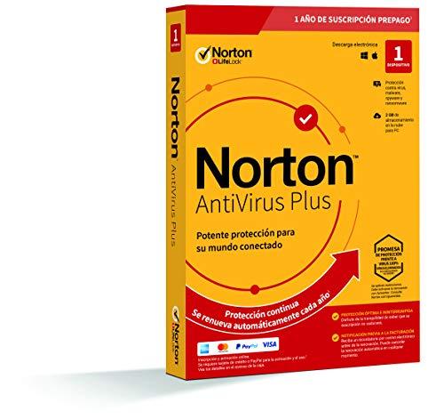 Norton Antivirus Plus 2020 - Antivirus software para 1 Dispositivo y 1 año de suscripción con renovación automática, para PC o Mac
