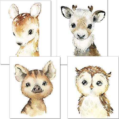 artpin® 4er Set Poster Kinderzimmer Waldtiere - A4 Bilder Babyzimmer - Deko Mädchen Junge (P49)