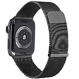 YZXL Metallo Cinturino Compatibile con Apple Watch Cinturino 44mm 40mm 45mm 38mm 42mm 41mm, Magnetico+Fibbia Cinturini per iWatch SE Series 7 6 5 4 3 2 1 (38mm/40mm,Nero)