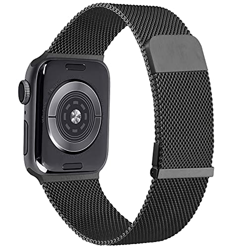 YZXL Metallo Cinturino Compatibile con Apple Watch Cinturino 44mm 40mm 45mm 38mm 42mm 41mm, Magnetico+Fibbia Cinturini per iWatch SE Series 7 6 5 4 3 2 1 (42mm/44mm,Nero)