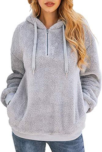 Bwiv Sudadera Mujer con Capucha Caliente Flexible Invierno Otoño en Piel Sintética Multi Color Chaqueta Polar Casual Moda Amplio Gris Claro Talla S