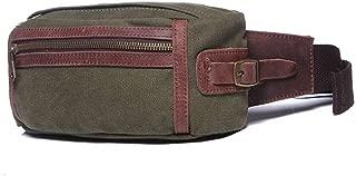 Rjj Waist Bag Men's Canvas Bag Vintage Travel Multi-Function Small Bag 25 * 9 * H11CM Exquisite (Color : Green)