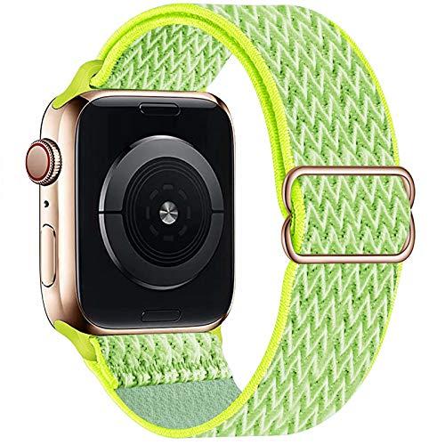 GBPOOT Compatibile con Cinturino Nylon Solo Loop per Apple Watch 38mm 40mm 42mm 44mm, Cinturino di Ricambio Lo Sport in Elastico in Nylon per Iwatch 6/SE/5/4/3/2/1,Giallo Chiaro,42/44mm