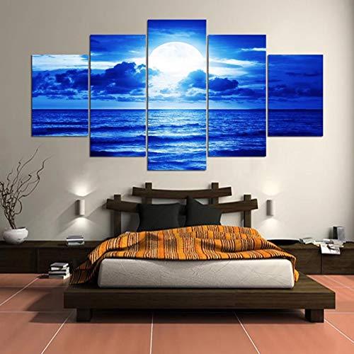 N/A 5 Fotos consecutivas Cuadro sobre Lienzo para Pared, Cuadros Decorativos para el hogar, 5 Paneles, Playa bajo el Cielo Nocturno, póster para habitación, Moderno, Impreso en HD sin Marco