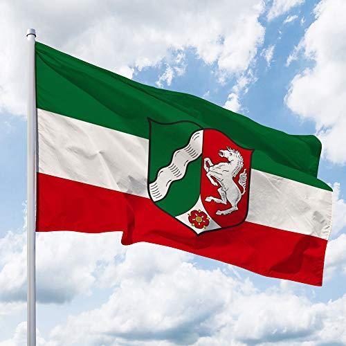 Deitert Bundesland-Flagge NRW – 150x100 cm cm NRW-Flagge mit Wappen (Dienstflagge), Hissflagge aus reißfestem Polyester, NRW-Fahne mit Doppelsicherheitsnaht gesäumt